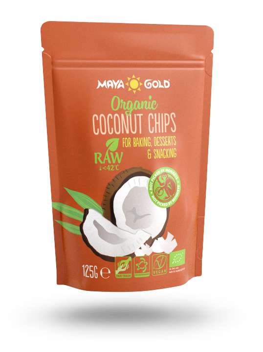 Maya Gold coconut chips product packaging