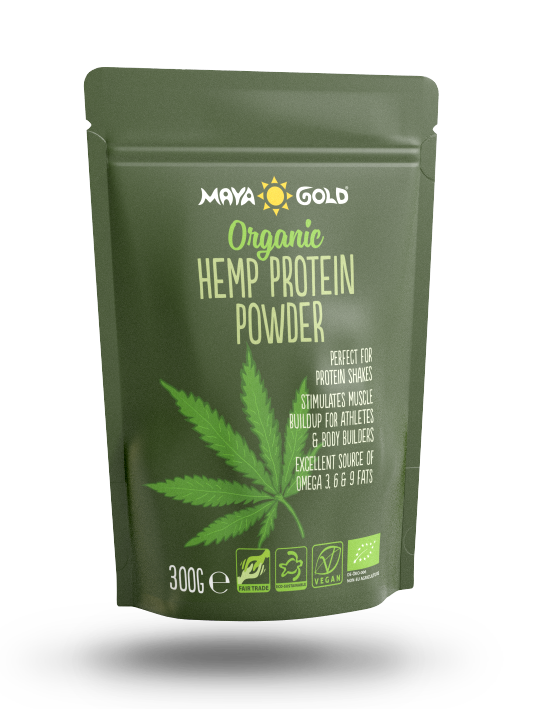 Maya Gold hemp protein powder packaging