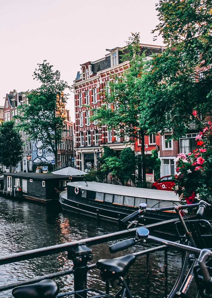 Amsterdam canal boat house