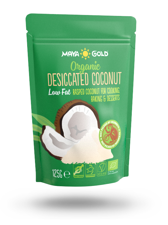 Maya Gold desiccated coconut packaging low fat
