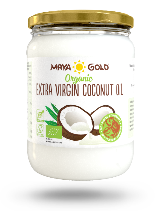 Maya Gold extra virgin coconut oil product packaging