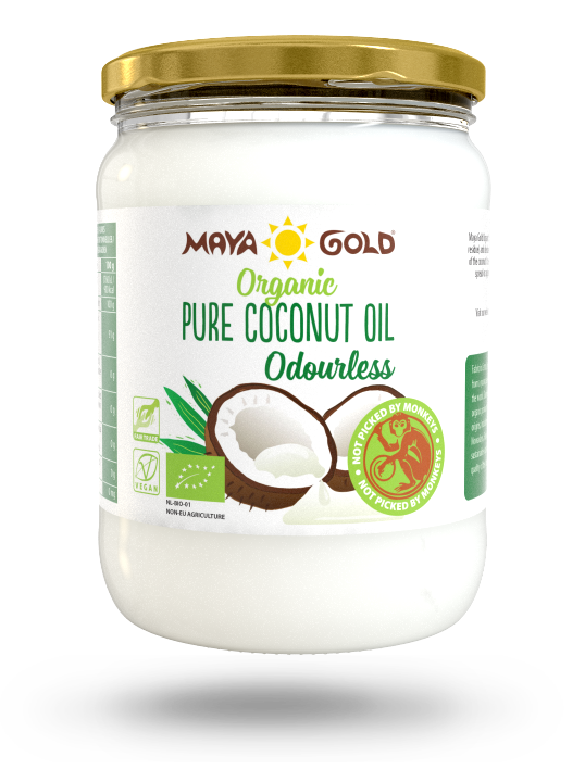 Maya Gold pure Coconut oil odorless product packaging