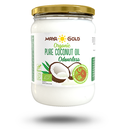Maya Gold pure coconut oil product packaging